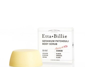 Geranium Patchouli Sea Salt Body Scrub Bar Organic Ingredients
