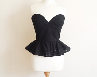 Peplum Top, Strapless Bustier, Eyelet Bustier, Pin Up Girl Top, Plus Size Bustier, Black Strapless Top, Lace Bustier, Sizes:UK 6-24/US 2-20