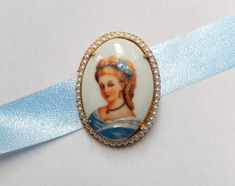 vintage Florenza Limoges porcelain brooch, scarf pin, hand painted, vintage fashion, womans gift jewelry