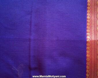 Purple Ilkal Sari Fabric, Indian Cotton Polyester Fabric By The Yard, Designer Handloom Saree, Border Print Fabric, Indian Ethnic Fabric