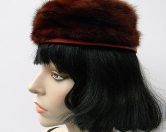 True Vintage Mahogany brown mink fur pillbox hat