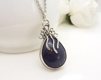 Blue goldstone necklace, sterling silver dark navy blue gemstone pendant, handmade jewelry