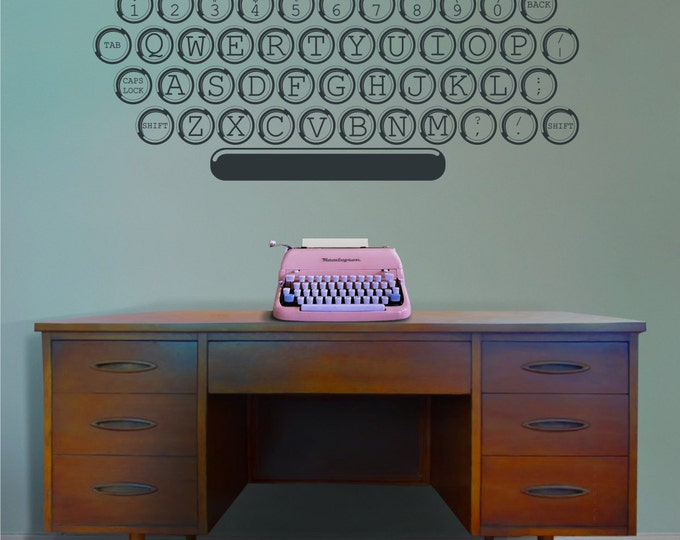 vintage typewriter vinyl wall decal, office, writer, author wall art, screenwriter wall sticker, retro, keyboard art, FREE SHIPPING