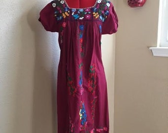 Vintage BURGUNDY MEXICAN Embroidered Dress