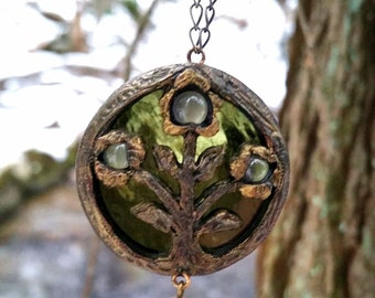 Night Flower of Molai Woods ~ Stained Glass & Moonstone Amulet