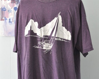 Baggy XXL Beach Coverup Tee Sailing Summer Distressed Faded Purple 80s 90s Big Tall XXL