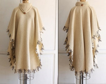 vintage woven wool blanket poncho 70s crocheted fringe
