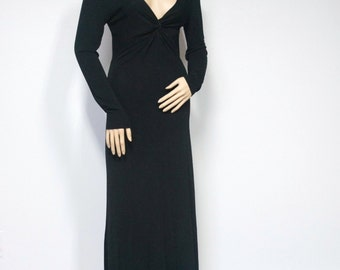 Dress Vintage Black Long Sexy Slinky Dress Maxi Goth 1990's Dress Rayon Knit Dress Size 8