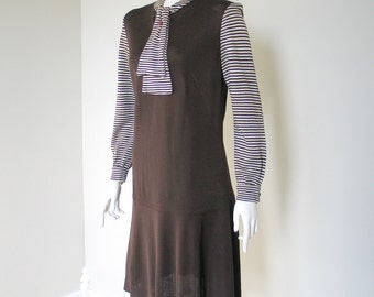 Vintage 1970s Brown Slinky Dress with Striped Sleeves and Necktie