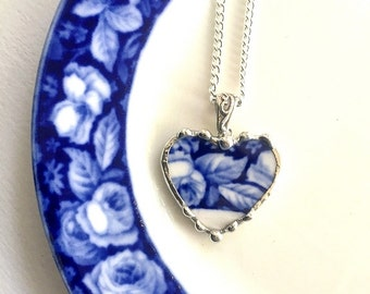 Recycled china heart pendant necklace Antique English Flow Blue roses broken china jewelry