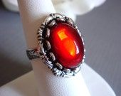 So In Love - Ring - Vintage Ruby Red Glass - Silver Adjustable Ring - Handmade Jewelry by HoneyNest