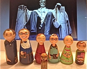 Peg Dolls - Large Peg Doll Family of 7 - Mom, Dad, 4 Kids, and Dog