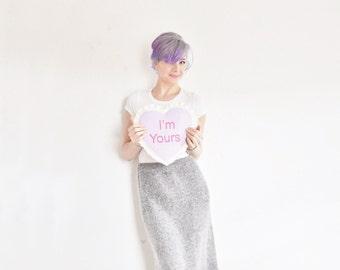 high waist knit skirt . soft gray angora silk, oooh . knee length .medium.large .sale s a l e