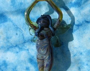 Glass Fairy Pendant - Faerie Pendant - Fairy Necklace - Faerie Necklace - Goddess Pendant - Goddess Necklace- Handmade Glass Necklaces
