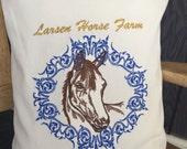 Feed Sack Pillow Horse Farm Custom