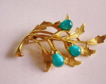 Signed Emmons Green Flower Brooch Gold  Tone.