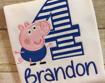 George Pig Birthday Shirt,  George Pig Party, Personalized George Pig Shirt, George Pig Boys Shirt, Peppa Pig Shirt, Peppa the Pig, George