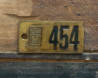 Vintage Brass Tags, Large Industrial Salvaged Number, No 454