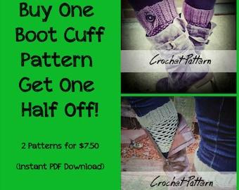 CROCHET PATTERN BUNDLE: Boot Cuff Crochet Pattern, Boot Topper Pattern, Boot Cuff Pattern