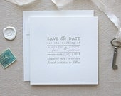 Letterpress Save the Date- Text Block Save the Date, Typographic,Traditional, Elegant, Simple, Classic, Custom, Formal, Destination