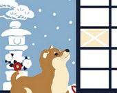Japanese Tenugui Cotton Fabric, Hand Dyed Fabric, Kawaii Shiba Inu Dog, Cat, Cute Animal Fabric, Winter Wall Art Hanging, Home Decor, h240