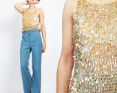 Gold Sequin Tank Top Vintage Sequin Top Crochet Mesh Knit 90s Sequin Top Crochet Tank Fancy Glam Party Top Metallic Sparkly Top (XS/S)
