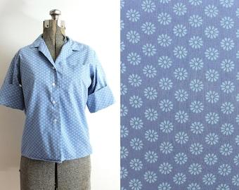 50s Blouse / 1960s 1950s Blouse / 50s Blue Floral Blouse