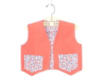 Vintage Toddler Vest * Child's Calico Vest * Reversible Calico Vest * size 3 - 4