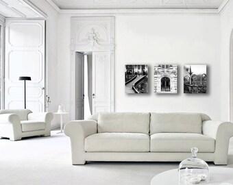 Paris Canvas, Black and White Photography on Canvas Wall Art, Paris Decor Set, Neutral, Rustic Canvas