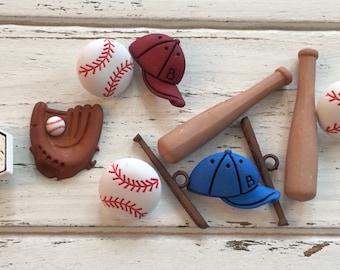 Baseball Buttons, Packaged Novelty Button Assortment by Buttons Galore, Style 4065, Includes Hats, Balls, Bats, Glove, Shank Back Buttons