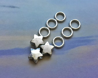 Star dread bead set, 5mm hole, FOR SMALL LOCS
