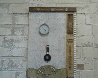 Barometer Rising:  Original assemblage wall art, large painting, wood, white, earthy, mixed media home decor by Leslee Lukosh of Foundturtle