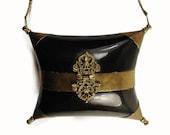 Antique Minaudière Pillow Purse - Brass and Horn Festival Bag - Hard Box Clutch - Art Nouveau - Art Deco - Boho Evening Bag - Flapper Purse
