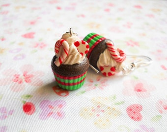 Christmas Earrings, Cupcake Earrings, Peppermint, Candy Cane, Earrings, Chocolate, Mint, Winter, Christmas, Cupcake, Cake, Polymer Clay