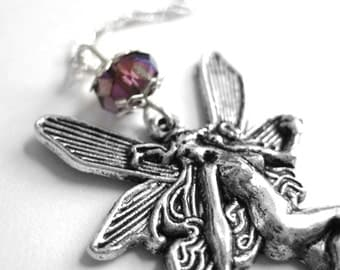 Sterling Fairy Necklace - Fairy Gifts Her - Faerie Clothing Accessory - Birthstone Crystal Jewelry -Long Large Silver Fairy Pendant Necklace