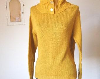 Vintage 70's Turtleneck Sweater, Mustard Yellow, Knit Wool Pullover, Women's Small to Medium