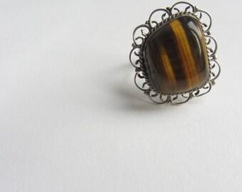 Vintage Tiger's Eye Ring, Sterling Silver Ring, Filigree Ring, Trendy Boho Chic Jewelry, Tiger Eye Ring, Cat's Eye Ring, Chatoyant Gemstone