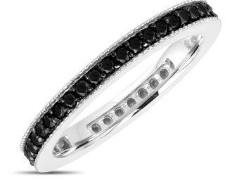Wedding Band, Fancy Black Diamond Eternity Ring, Anniversary Ring Stackable Ring 14k White Gold 0.45 Carat Pave Milgrain Handmade