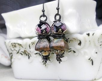 Rustic Assemblage Earrings - Beaded Drop Earrings - Foiled Floral Black Faceted Lampwork Glass Beads, Unusual Metal Beads, Steel Wire Wrap