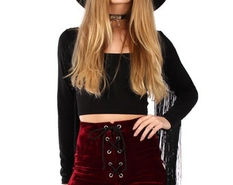 Hex Lace Up Velvet Shorts - More Colours Available