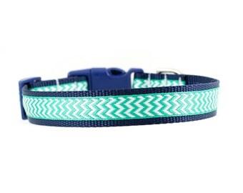 "Blue Chevron Dog Collar, Green Chevron Dog Collar, Chevron Collar, Blue Dog Collar, Boy Dog Collar, 1' or 3/4"" Wide"