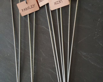 Copper Plant Markers - Set of 10 - Garden Herb Plant Tags Labels with Stakes