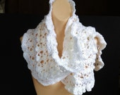 White Scarf, Long Crochet Scarf with Ruffles, Super Soft Lacy Knit Bright White Winter Accessories Gift Idea For Women, Any Size or Plus