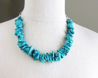 Chunky Kingman Turquoise Necklace Sterling Silver
