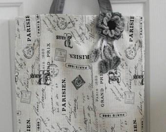Paris Vintage Pattern Tote With Crochet Flower