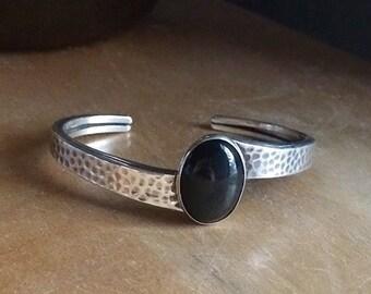 Vintage Arts and Crafts Era Handmade Onyx Cuff Sterling Bracelet