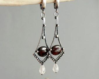 Romantic earrings, Gemetric earrings, Drop earrings, Bohemian earrings, Rose Quartz earrings, Garnet earrings, Antiqued earrings, Artisan
