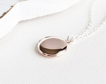 Round Rose Gold Plated Locket Pendant Necklace on Silver Plated Chain, Two Tone, Simple Jewelry