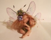 """Ooak Fairy Mother with her Baby sculpted by hand """"Fairy Dolls"""", """"collectible fairy dolls"""",  """"polymer clay dolls"""""""
