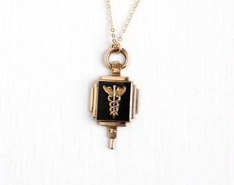 Vintage 10k Gold Filled Caduceus Pendant Necklace - Dated 1940 WWII Black Glass Medicine Medical Symbol Award Fob Snake Staff Jewelry